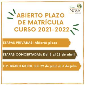 Colegio Nova Hispalis fechas abierto plazo de matriculación curso 2122